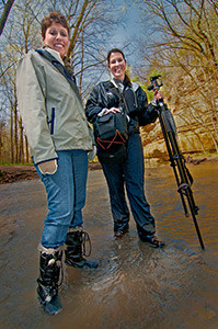 Two of our more intrepid photography students at our Starved Rock State Park springtime learning adventure.